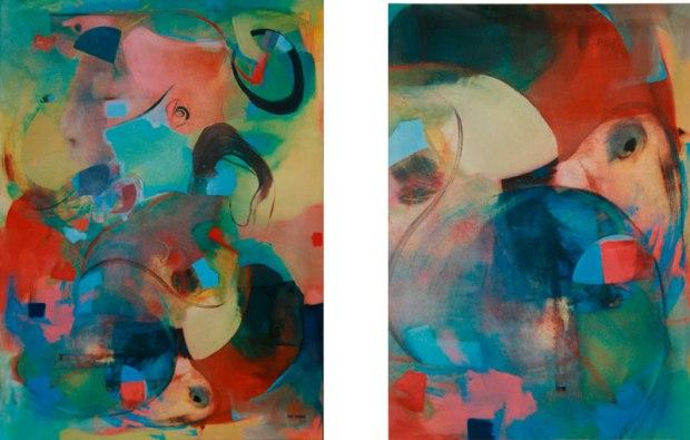 """Workshop """"Dialogue VII"""" 2001 Stralsund, Alemania. Propiedad de Stralsund. Oleo sobre lienzo / 125 cm x 95 cm"""
